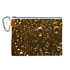 Festive Bubbles Sparkling Wine Champagne Golden Water Drops Canvas Cosmetic Bag (l) by yoursparklingshop