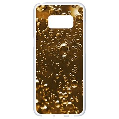 Festive Bubbles Sparkling Wine Champagne Golden Water Drops Samsung Galaxy S8 White Seamless Case by yoursparklingshop