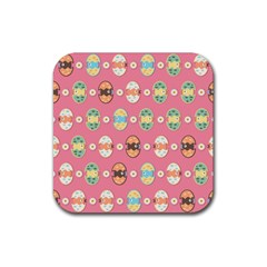 Cute Eggs Pattern Rubber Coaster (square)  by linceazul