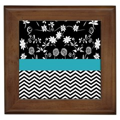 Flowers Turquoise Pattern Floral Framed Tiles