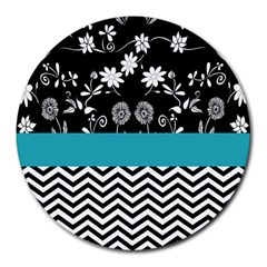 Flowers Turquoise Pattern Floral Round Mousepads by BangZart