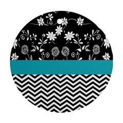 Flowers Turquoise Pattern Floral Ornament (round) by BangZart