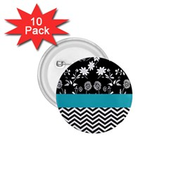 Flowers Turquoise Pattern Floral 1 75  Buttons (10 Pack)