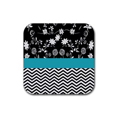 Flowers Turquoise Pattern Floral Rubber Square Coaster (4 Pack)