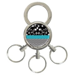 Flowers Turquoise Pattern Floral 3 Ring Key Chains