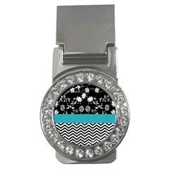 Flowers Turquoise Pattern Floral Money Clips (cz)