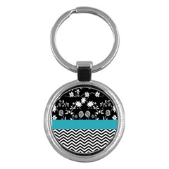 Flowers Turquoise Pattern Floral Key Chains (round)  by BangZart
