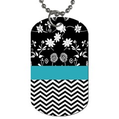 Flowers Turquoise Pattern Floral Dog Tag (two Sides) by BangZart