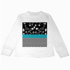 Flowers Turquoise Pattern Floral Kids Long Sleeve T Shirts