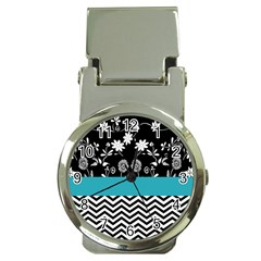 Flowers Turquoise Pattern Floral Money Clip Watches