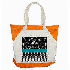 Flowers Turquoise Pattern Floral Accent Tote Bag by BangZart