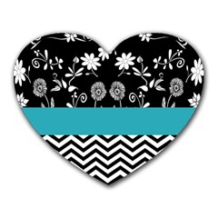 Flowers Turquoise Pattern Floral Heart Mousepads by BangZart