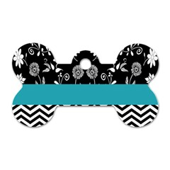 Flowers Turquoise Pattern Floral Dog Tag Bone (one Side)
