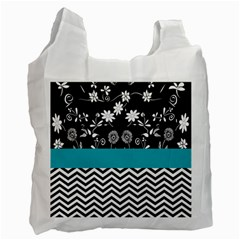 Flowers Turquoise Pattern Floral Recycle Bag (one Side)