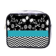 Flowers Turquoise Pattern Floral Mini Toiletries Bags