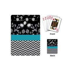 Flowers Turquoise Pattern Floral Playing Cards (mini)