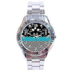 Flowers Turquoise Pattern Floral Stainless Steel Analogue Watch by BangZart