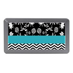 Flowers Turquoise Pattern Floral Memory Card Reader (mini) by BangZart