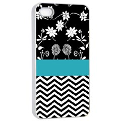 Flowers Turquoise Pattern Floral Apple Iphone 4/4s Seamless Case (white) by BangZart