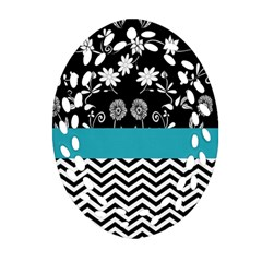 Flowers Turquoise Pattern Floral Oval Filigree Ornament (two Sides) by BangZart