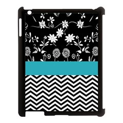 Flowers Turquoise Pattern Floral Apple Ipad 3/4 Case (black)