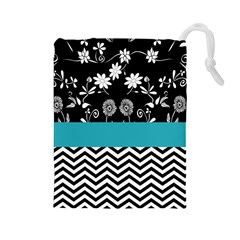 Flowers Turquoise Pattern Floral Drawstring Pouches (large)  by BangZart