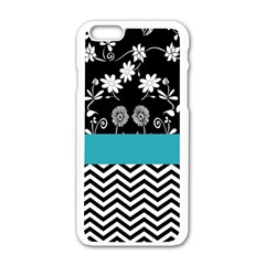 Flowers Turquoise Pattern Floral Apple Iphone 6/6s White Enamel Case by BangZart