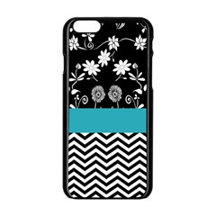Flowers Turquoise Pattern Floral Apple Iphone 6/6s Black Enamel Case by BangZart