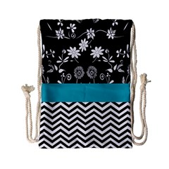 Flowers Turquoise Pattern Floral Drawstring Bag (small)