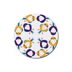 Pattern Circular Birds Rubber Round Coaster (4 Pack)
