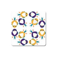 Pattern Circular Birds Square Magnet by BangZart