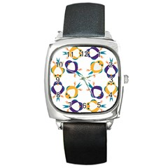 Pattern Circular Birds Square Metal Watch