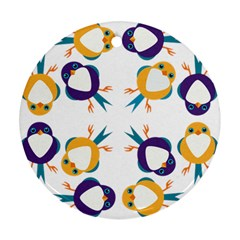 Pattern Circular Birds Round Ornament (two Sides)