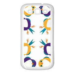 Pattern Circular Birds Samsung Galaxy S3 Back Case (white)