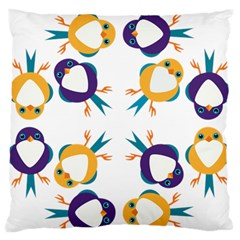 Pattern Circular Birds Large Flano Cushion Case (two Sides) by BangZart