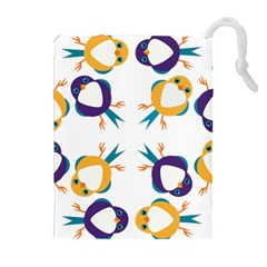 Pattern Circular Birds Drawstring Pouches (extra Large) by BangZart