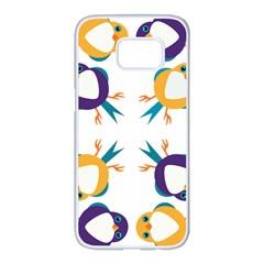 Pattern Circular Birds Samsung Galaxy S7 Edge White Seamless Case by BangZart