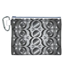 Metal Circle Background Ring Canvas Cosmetic Bag (l) by BangZart