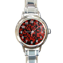 Black Red Tiles Checkerboard Round Italian Charm Watch