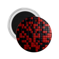 Black Red Tiles Checkerboard 2 25  Magnets