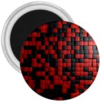 Black Red Tiles Checkerboard 3  Magnets Front