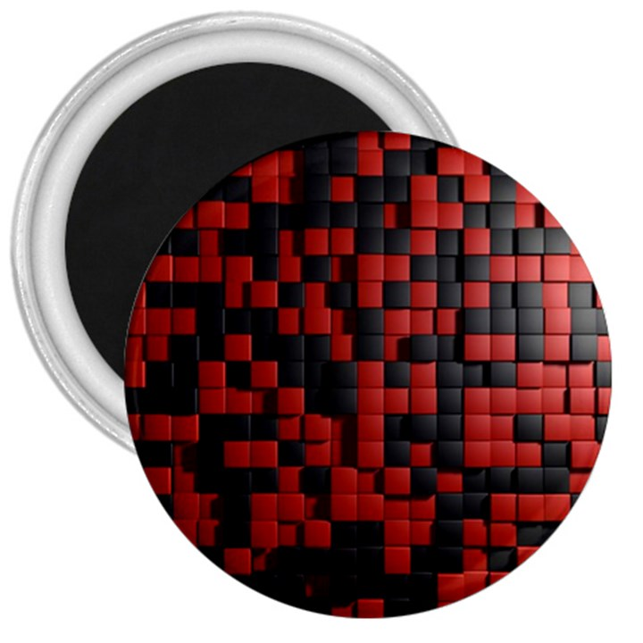 Black Red Tiles Checkerboard 3  Magnets