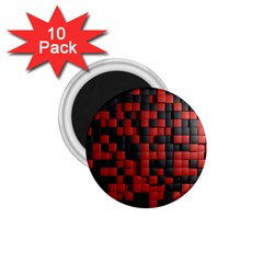 Black Red Tiles Checkerboard 1 75  Magnets (10 Pack)  by BangZart