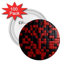 Black Red Tiles Checkerboard 2 25  Buttons (100 Pack)