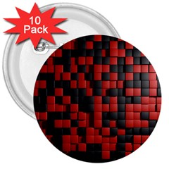 Black Red Tiles Checkerboard 3  Buttons (10 Pack)  by BangZart
