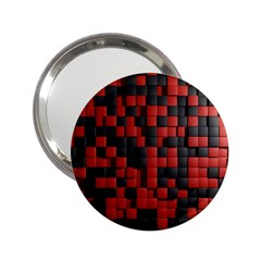Black Red Tiles Checkerboard 2 25  Handbag Mirrors by BangZart