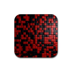 Black Red Tiles Checkerboard Rubber Coaster (square)  by BangZart
