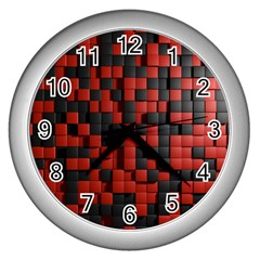 Black Red Tiles Checkerboard Wall Clocks (silver)  by BangZart
