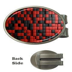 Black Red Tiles Checkerboard Money Clips (oval)  by BangZart