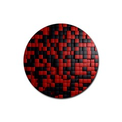 Black Red Tiles Checkerboard Rubber Coaster (round)